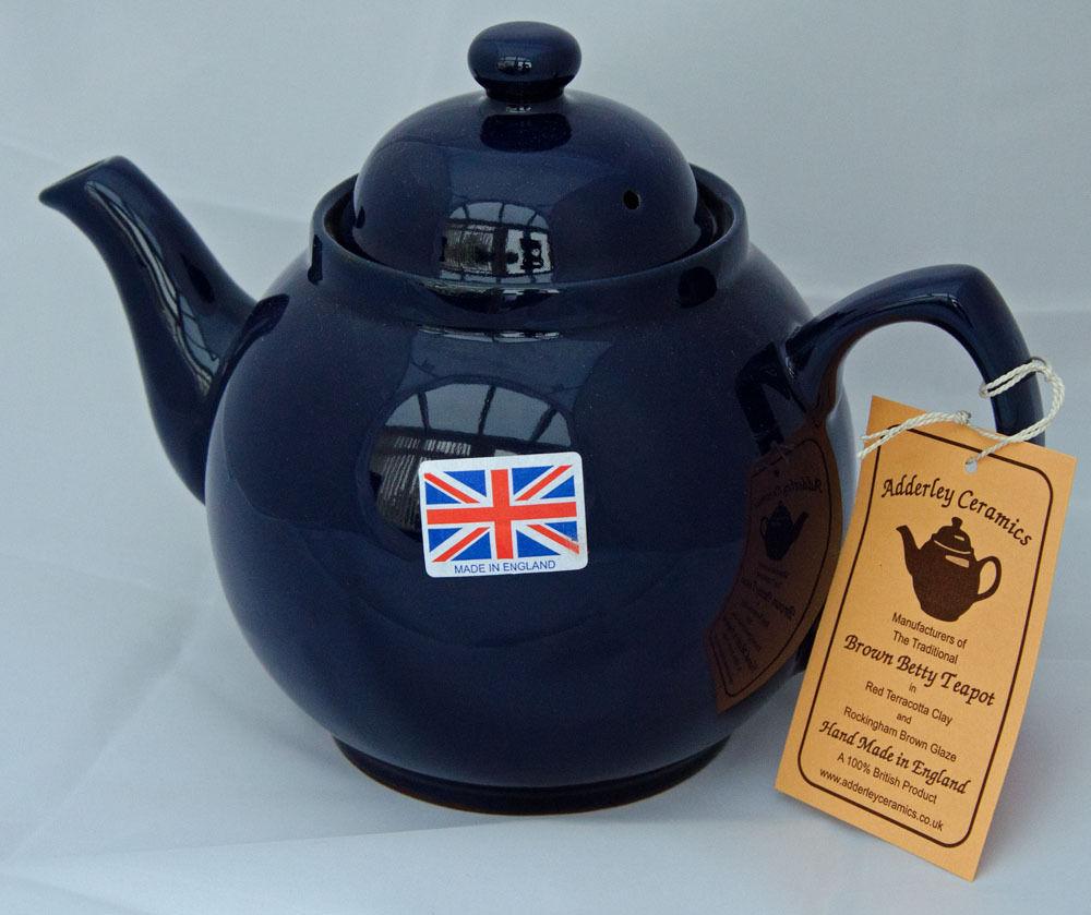 Brown Betty In Cobalt Blue 8 Cup Adderley Teapot